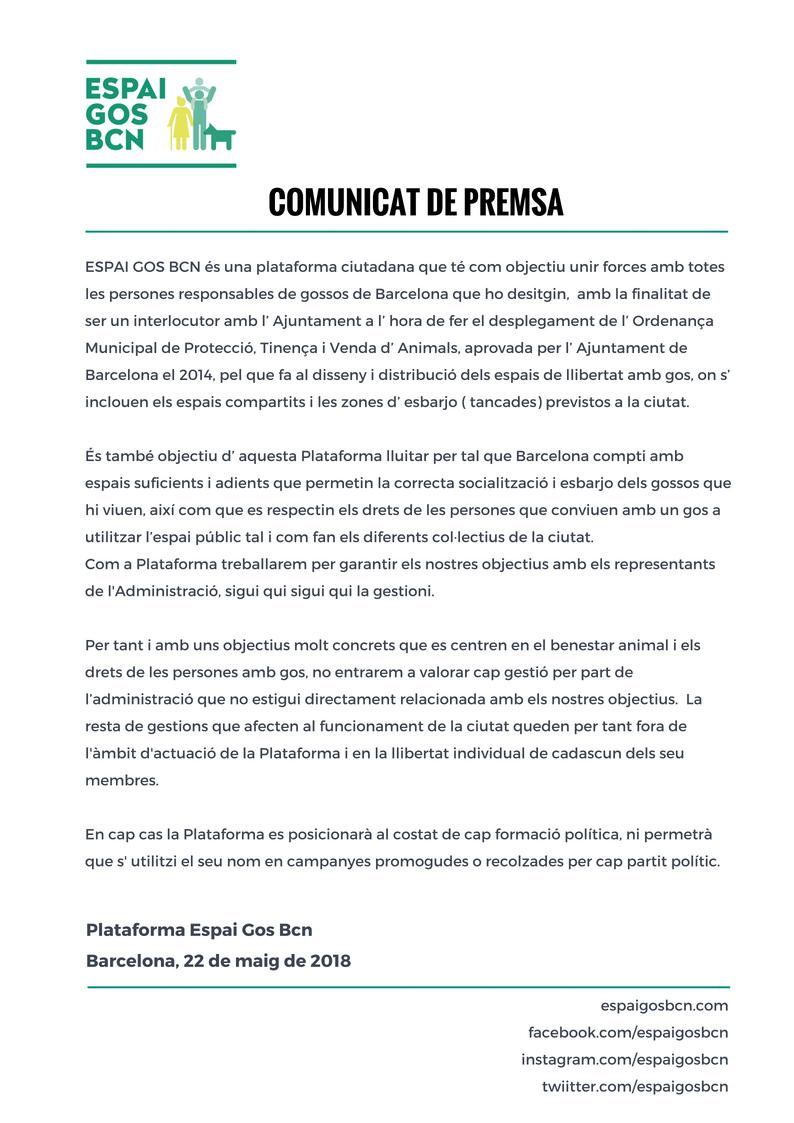 Comunicat premsa Espaigosbcn